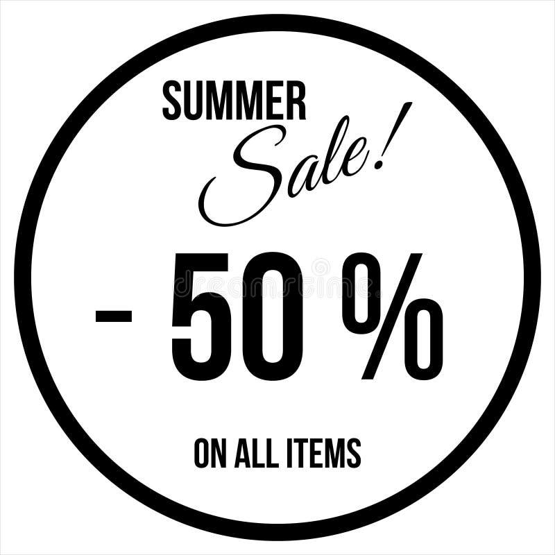50% Verkaufs-Aufkleber-Schablone stock abbildung