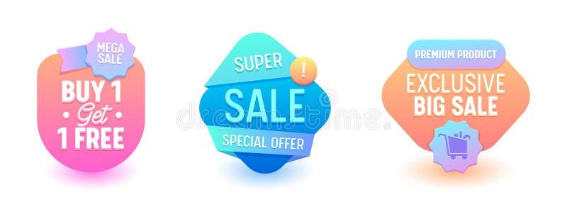 Verkaufs-Ausweis-Satz-Rabatt Promo-Preis Online-Werbungs-freibleibende Offerte-spezielle Aufkleber-Fahnen-geometrischer Entwurf E vektor abbildung