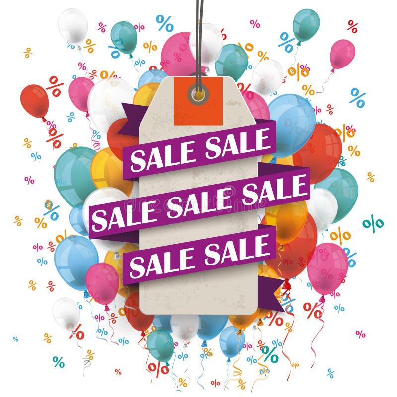 Verkaufs-Band-Preis-Aufkleber steigt Prozente im Ballon auf lizenzfreie abbildung