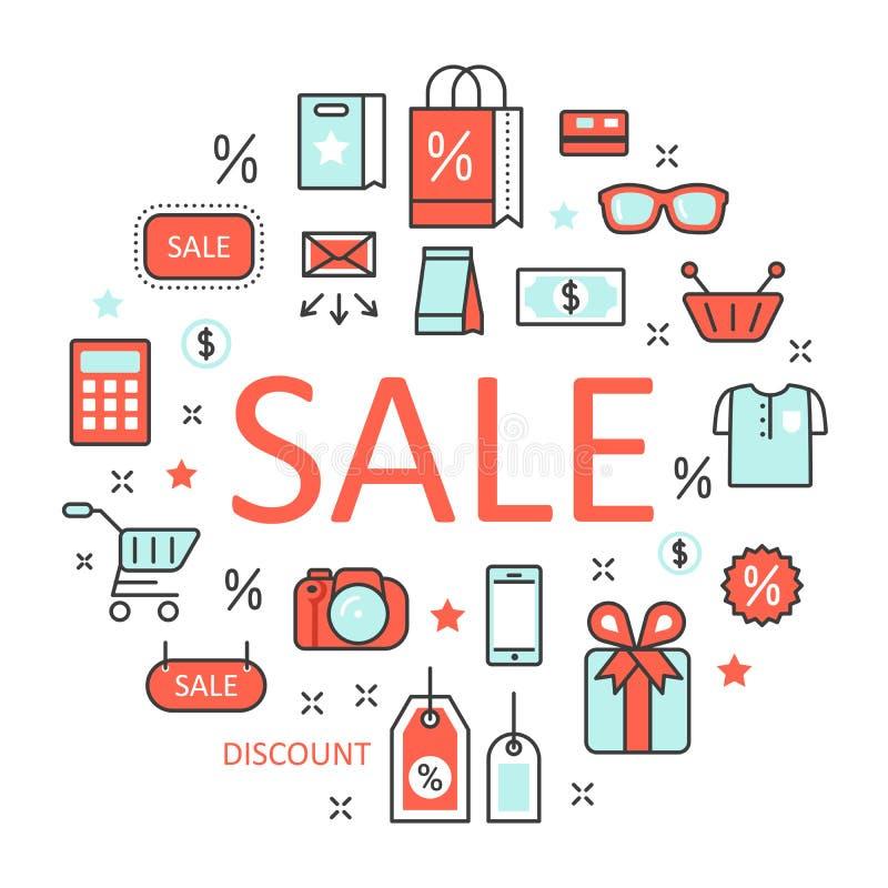 Verkaufs-Diskontlinie Art Thin Icons Set mit Einkaufselementen lizenzfreie abbildung