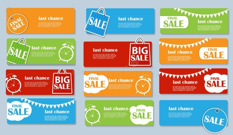 Verkaufs-Fahne eingestellt mit Platz für Ihren Text Vektor stock abbildung