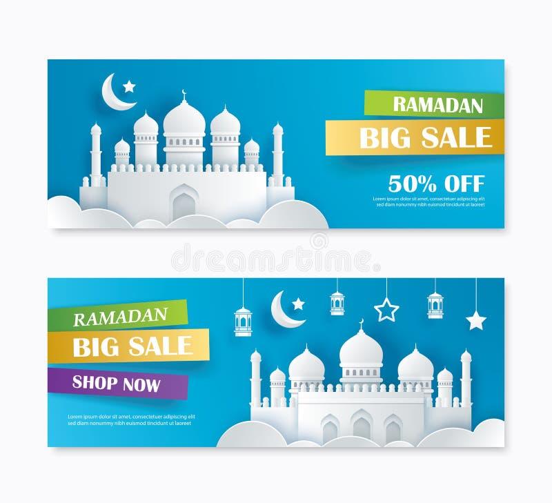 Verkaufs-Fahnendesign Ramadan Kareems großes mit sichelförmigem Mondpapier a vektor abbildung