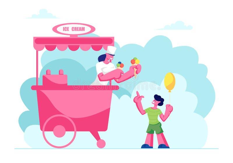 Verkaufs-Frau, die Little Boy mit Luft-Ballon, Kind Eiscreme in den Waffel-Kegeln mit farbigen Bällen kauft kalten Nachtisch gibt lizenzfreie abbildung