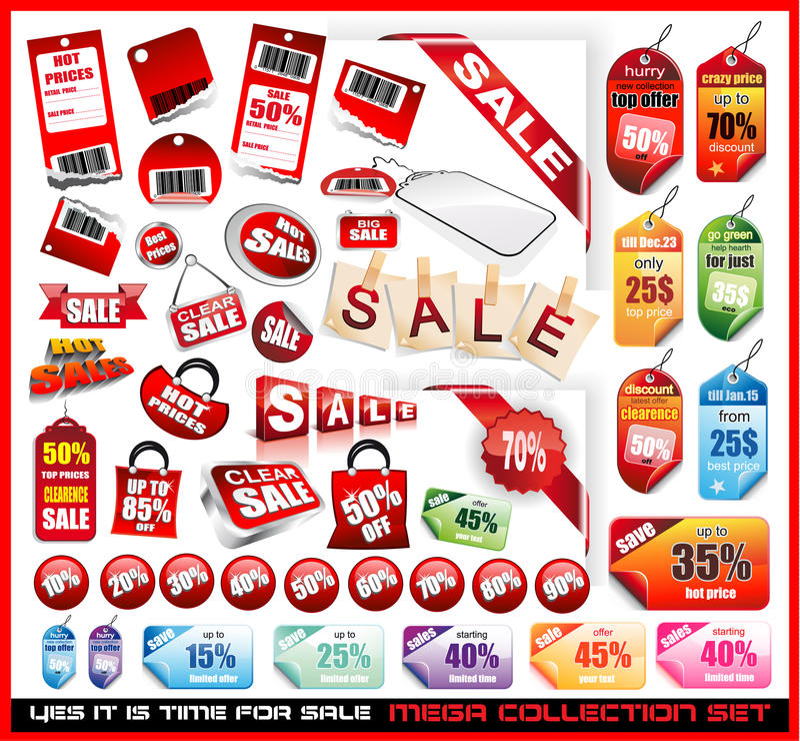 Verkaufs-Marken-großansammlungs-Set stock abbildung