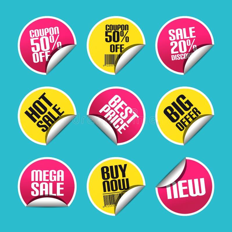 Verkaufs-Rabatt-Aufkleber eingestellt mit der gebogenen Ecke - bunte Vektor-Illustration - lokalisiert auf einfarbigem Hintergrun stock abbildung