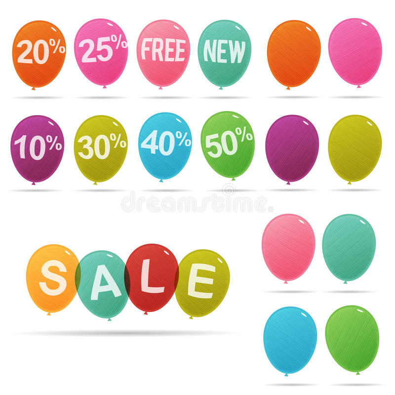 Verkaufs-Rabatt-Ballone stock abbildung
