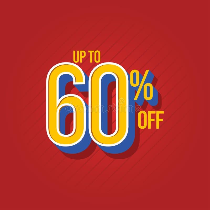 Verkaufs-Rabatt bis 60% weg von der Vektor-Schablonen-Entwurfs-Illustration vektor abbildung