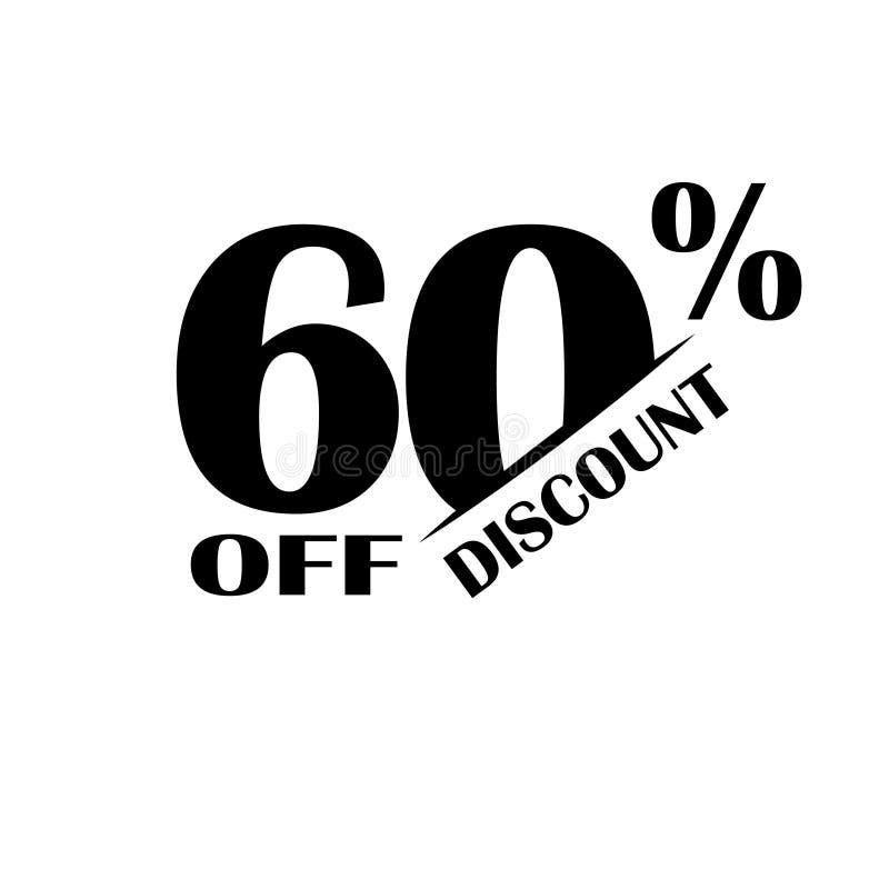 Verkaufs-Rabatt-Ikone Sonderangebotpreis 60 Prozent - Vektor lizenzfreie abbildung