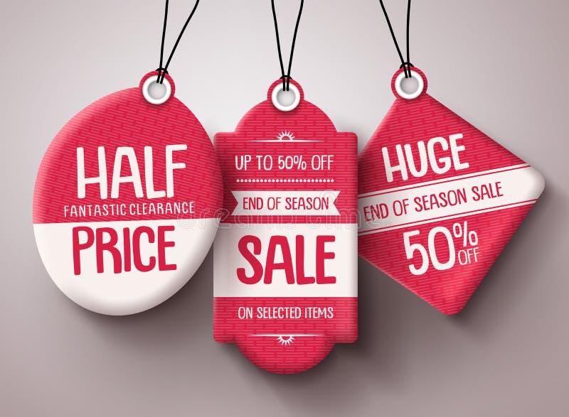 Verkaufs-Tag-Vektorsatz Rote Papier-Preise mit enormem Verkauf und Rabatt simsen stock abbildung