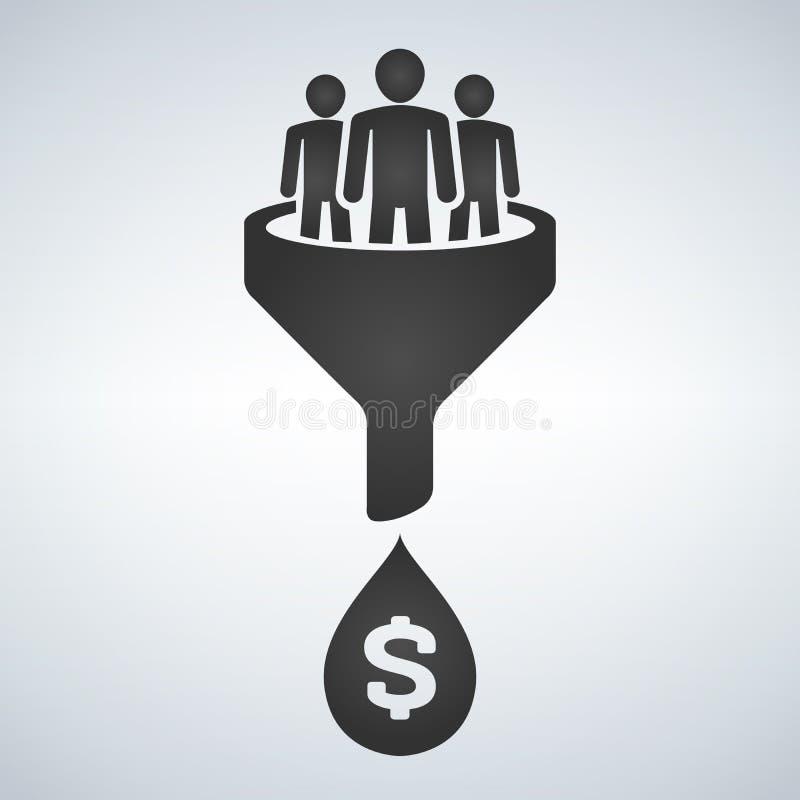 Verkaufs-Trichter-Linie Ikone Internet-Marketing-Umwandlungskonzept Produzieren des Geldes vektor abbildung