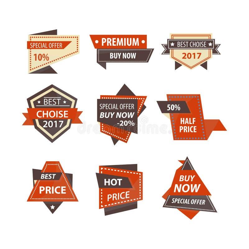 Verkaufs- und Preisrabatttags für Einkaufsförderungsposter entwerfen Schablone stock abbildung