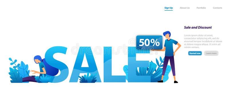 Verkaufs- und RabattKonzept des Entwurfes für Werbungs- und Marketing-Förderung mit 50% weg für schwarzen Freitag Flaches Illustr vektor abbildung