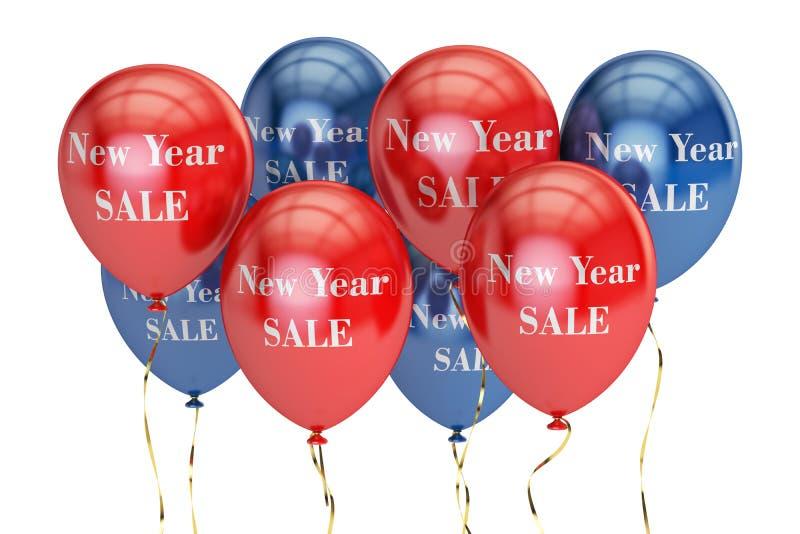 Verkaufs- und Rabattkonzept des neuen Jahres mit farbigen Ballonen lizenzfreie abbildung