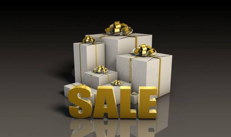 Verkaufs-Zeichen mit Geschenk-Kästen vektor abbildung