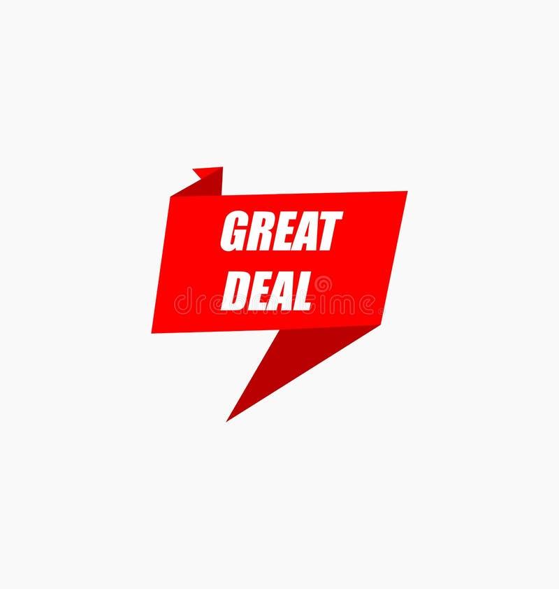 Verkaufsangebotausweis Großes Abkommen Promodichtungen/-aufkleber lizenzfreie abbildung