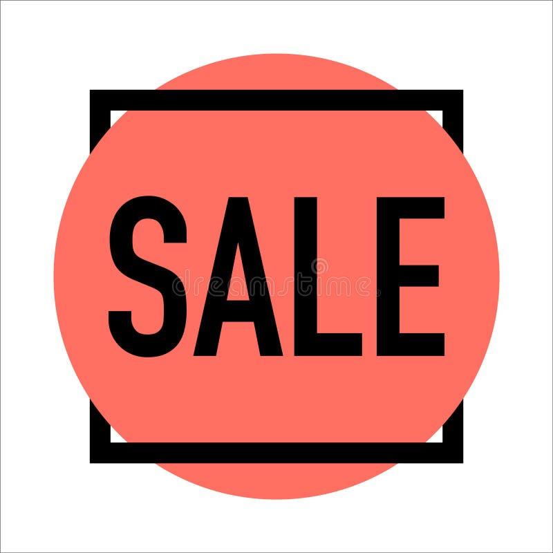 Verkaufsanzeige auf dem lebenden korallenroten Hintergrundvektor lizenzfreie abbildung