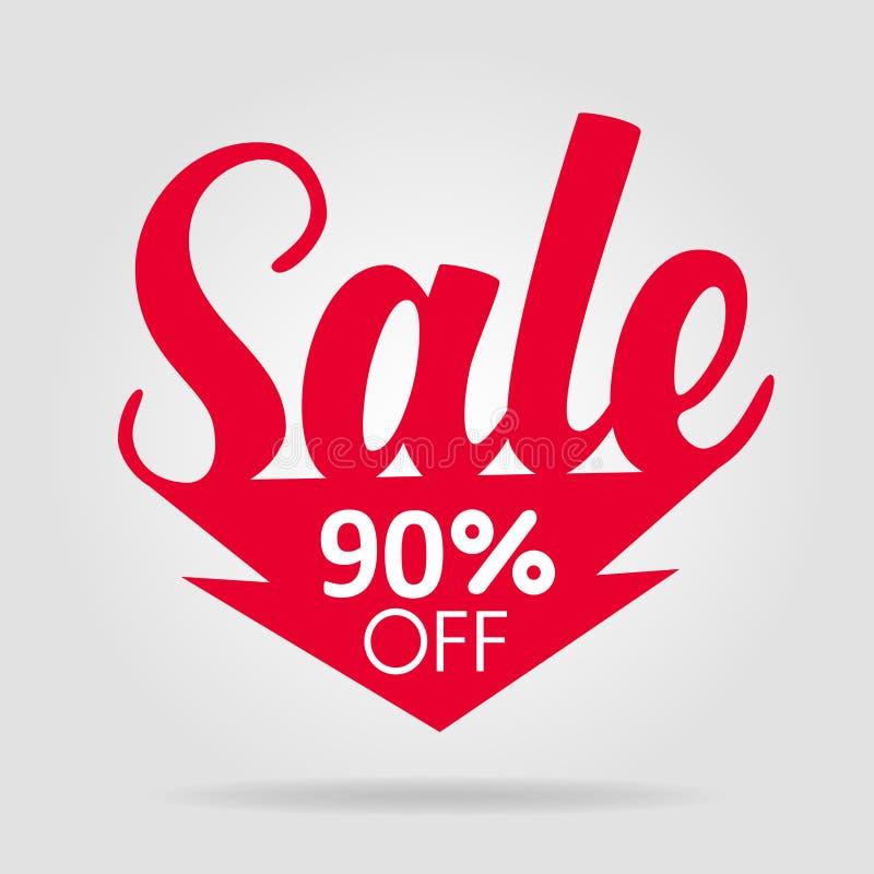Verkaufsaufkleber-Rotpfeil lizenzfreie abbildung