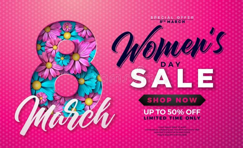 Verkaufsentwurf der Frauen Tagesmit schöner bunter Blume auf rosa Hintergrund Vektor-Blumenillustrations-Schablone für Kupon lizenzfreie abbildung