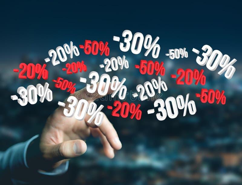 Verkaufsförderung 20% 30% und 50%, das über eine Schnittstelle - Shopp fliegt stockfotografie