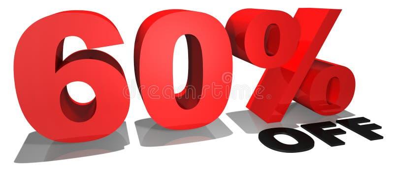 Verkaufsförderungstext 60% weg vektor abbildung