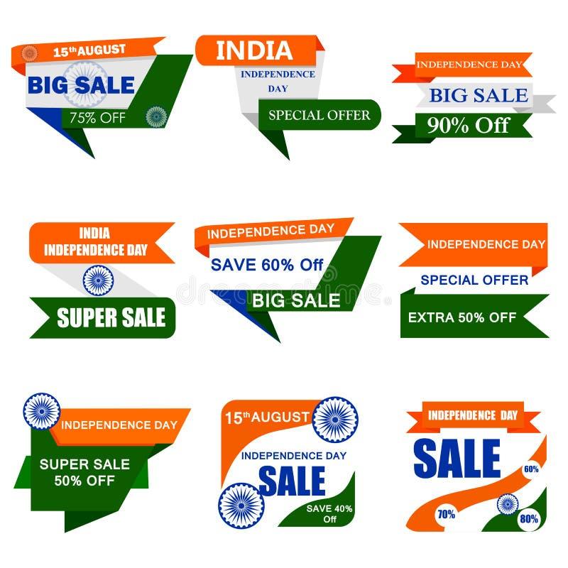 Verkaufsf?rderung und Anzeige f?r 15. August Happy Independence Day von Indien vektor abbildung