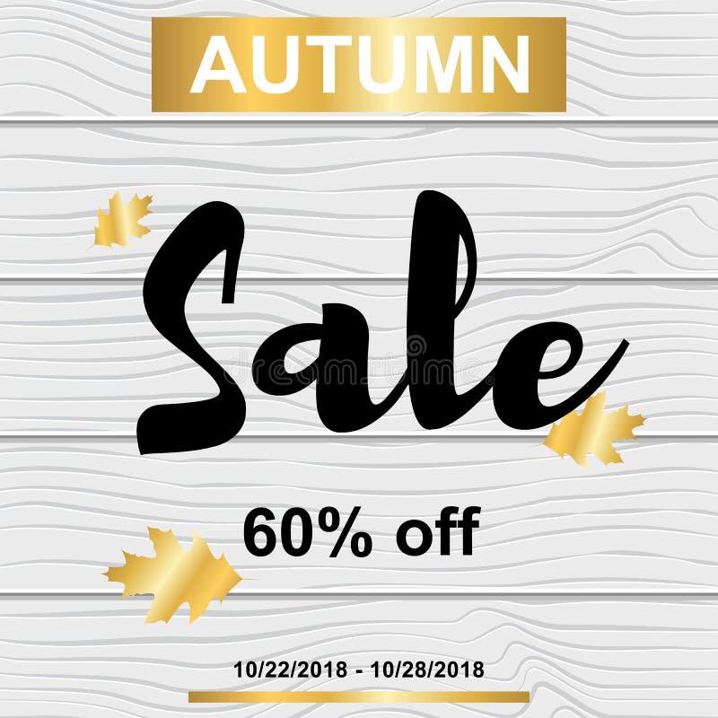 Verkaufsfahne mit Herbstgoldblättern auf hölzerner Beschaffenheit stock abbildung