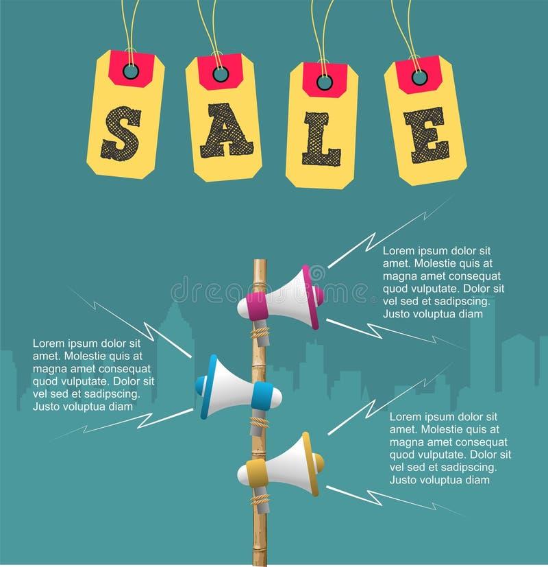 Verkaufsfahne mit Informationsgraphiken stockfoto
