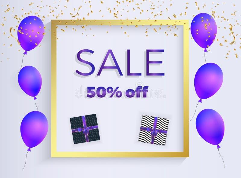 Verkaufsfahne mit purpurroten geformten Ballonen, Kastengeschenk mit Bändern, Goldkonfettis Schablone für die Dekorationsdarstell vektor abbildung