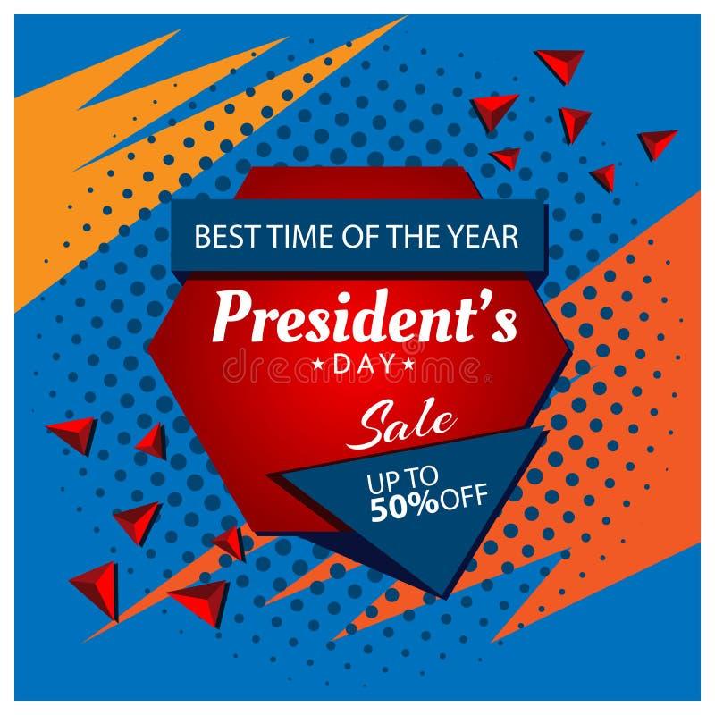 Verkaufsfahne Präsidenten Tages Designe für Poster, Hintergründe, Karten, Fahnen, Aufkleber, usw. vektor abbildung