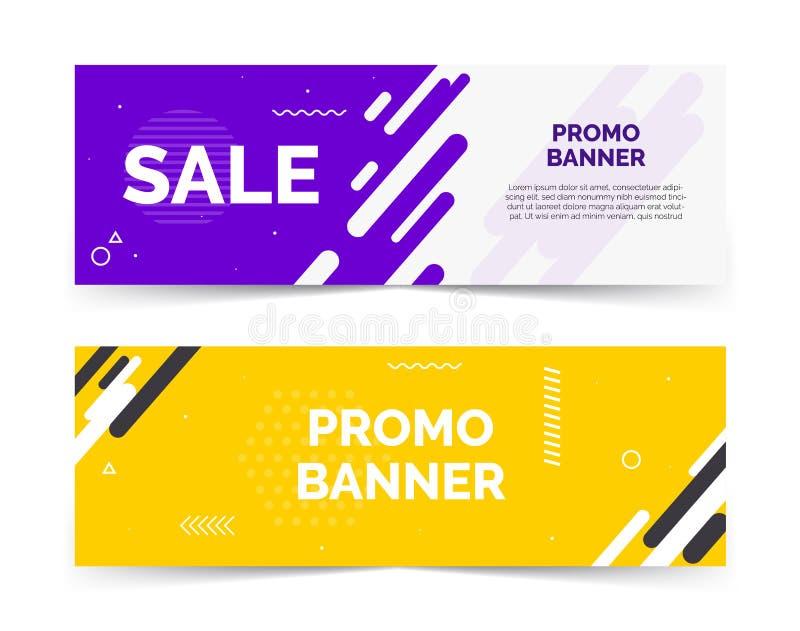 Verkaufsfahnen mit Textraum, abstrakter der Wellen, Purpurroter und Gelber Farbe der Elemente, lizenzfreie abbildung