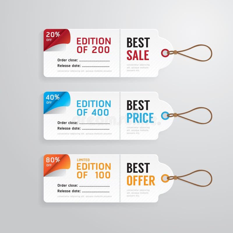 Verkaufsfahnen-Preispapierkarten-Schablonensammlung Vektor stock abbildung