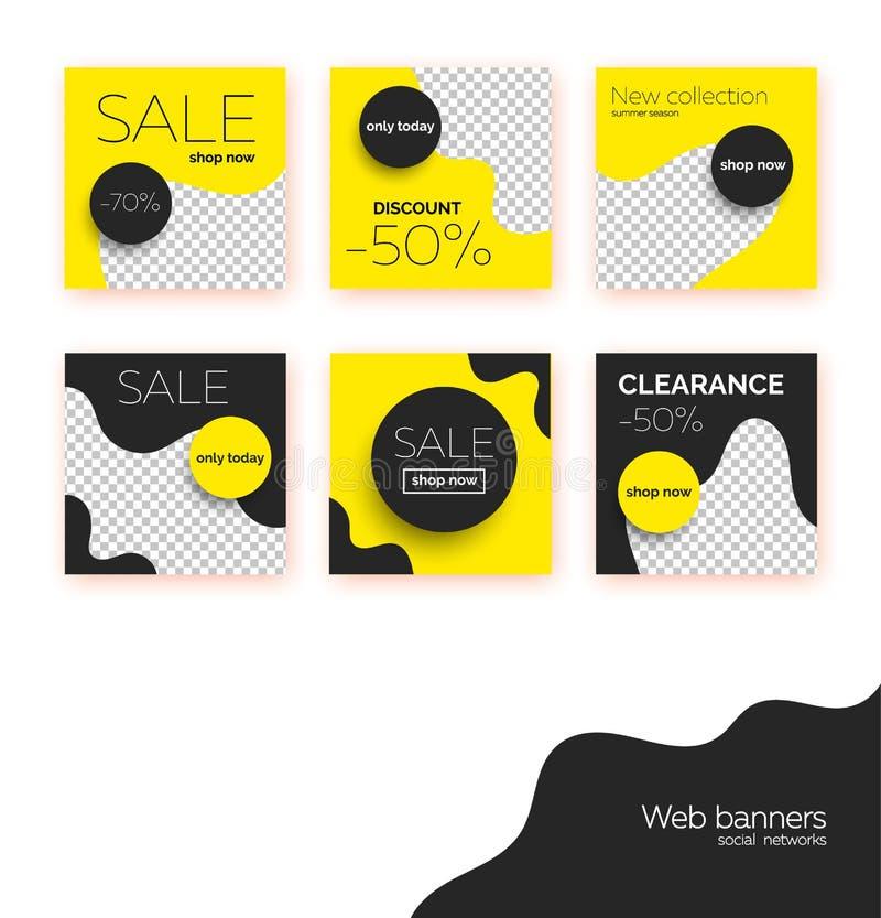 Verkaufsfahnen, Schablonensammlung für Social Media-Postenförderung Geometrische quadratische Hintergründe mit Textraum stock abbildung
