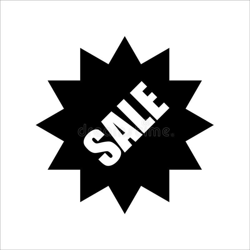Verkaufsfahnen-Schwarzweiss-Vektor lizenzfreie abbildung