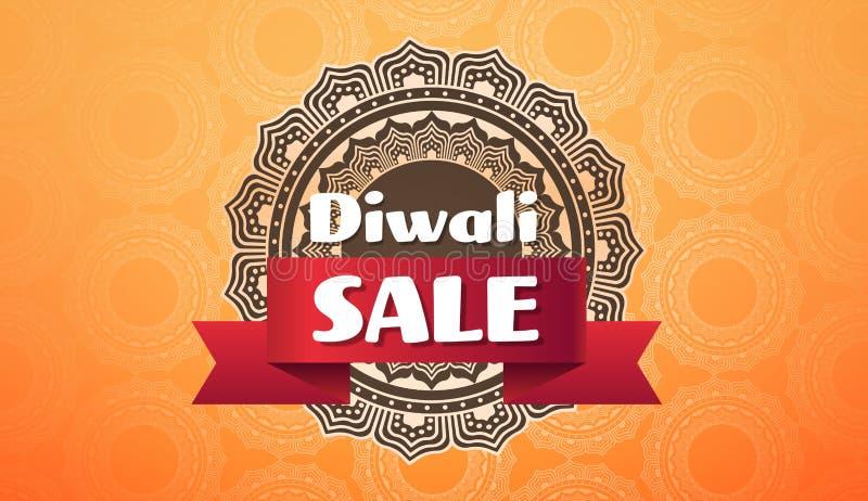 Verkaufsfeierfeiertagskonzeptes des Diwali-Festivalangebots Verzierungs-Grußkarten-Schabloneneinladung des großen flache horizont stock abbildung