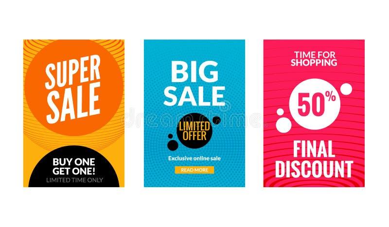 Verkaufsflieger eingestellt mit Rabattangebot Preis-Plakatschablone der Jahreszeit beste Kaufende große Rabatte der Marktfahnen lizenzfreie abbildung
