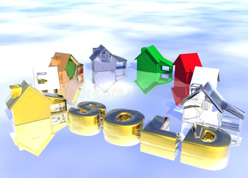 Verkaufsgoldtext mit Ring der verschiedenen Eigenschaften vektor abbildung
