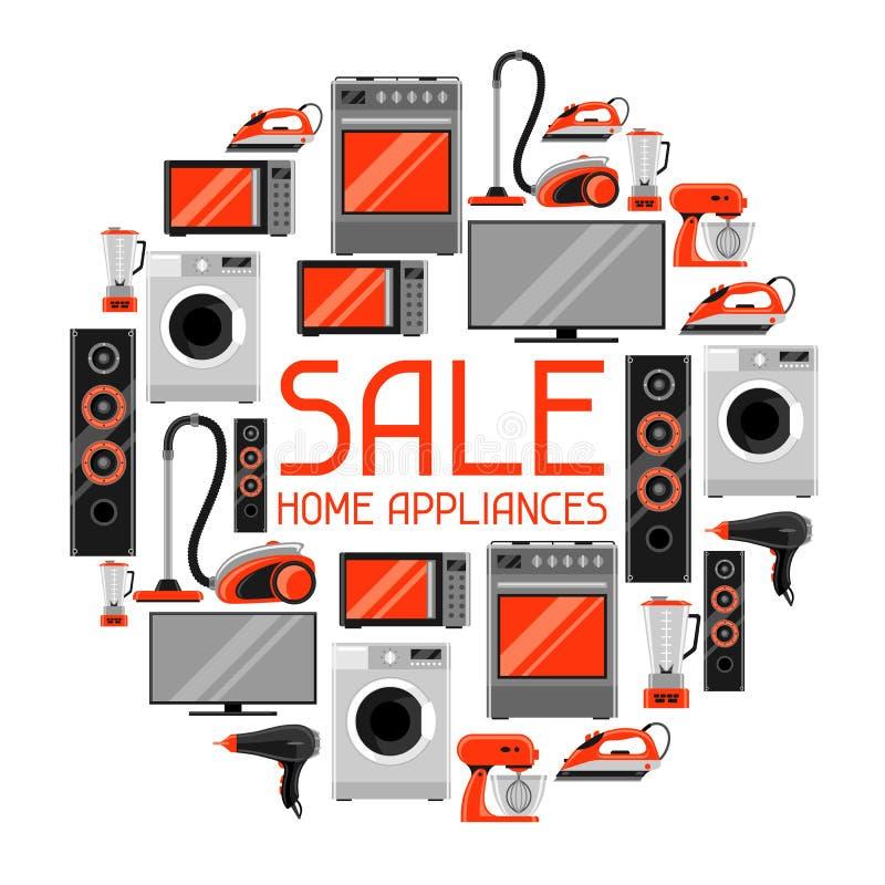 Verkaufshintergrund mit Haushaltsgeräten Haushaltsartikel für den Einkauf und Reklamehandzettel lizenzfreie abbildung