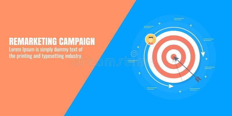 Verkaufskampagne, anvisierendes Publikum, Daten gefahrenes Marketing, digitale Werbung, Kunde, Zielmarktkonzept Flache Fahne stock abbildung