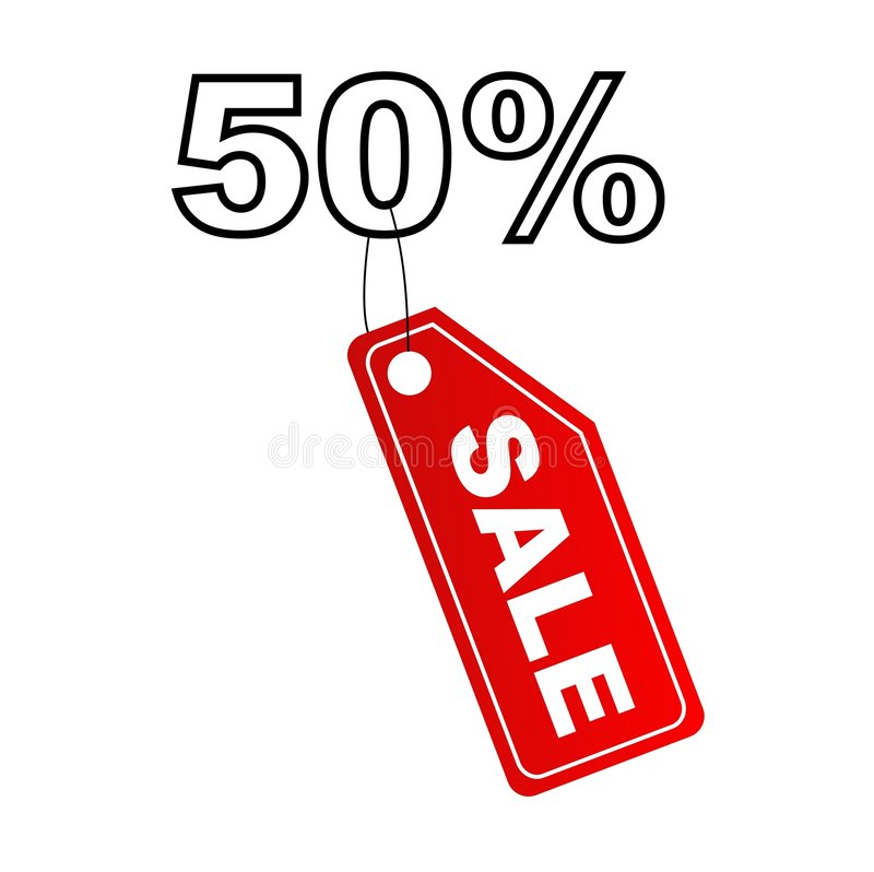 Verkaufskennsatz mit dem 50% Rabatt stock abbildung