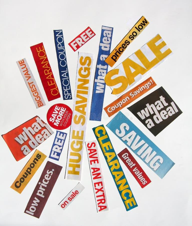 Verkaufsklappentexte lizenzfreie stockfotos