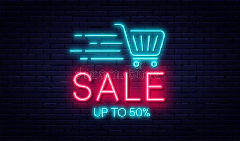 Verkaufsleuchtreklame-, Verkaufs- und Rabattkonzept Helle und glühende Leuchtreklame für E-Commerce, Anzeige, Fahne, Anschlagtafe stock abbildung