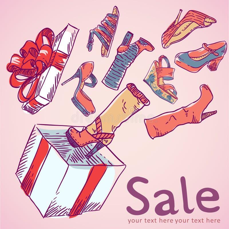 Verkaufspostkarte mit Schuhen, Kasten stock abbildung