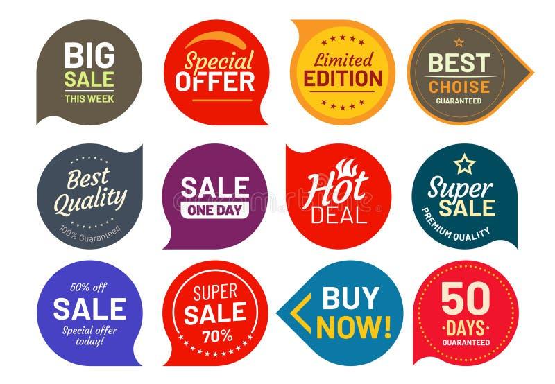 Verkaufsqualitätsausweise Ringsum hundert-Prozent-sicherlich Aufkleberausweis Aufklebervektorillustrations-Ikonensatz lizenzfreie abbildung