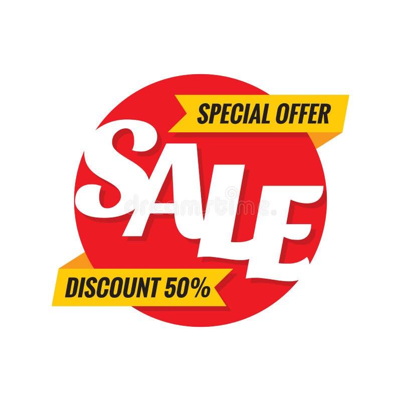 Verkaufsrabatt 50% - Konzeptkreisfahnen-Vektorillustration Sonderangebotwerbungsförderungs-Aufkleberplan, stock abbildung