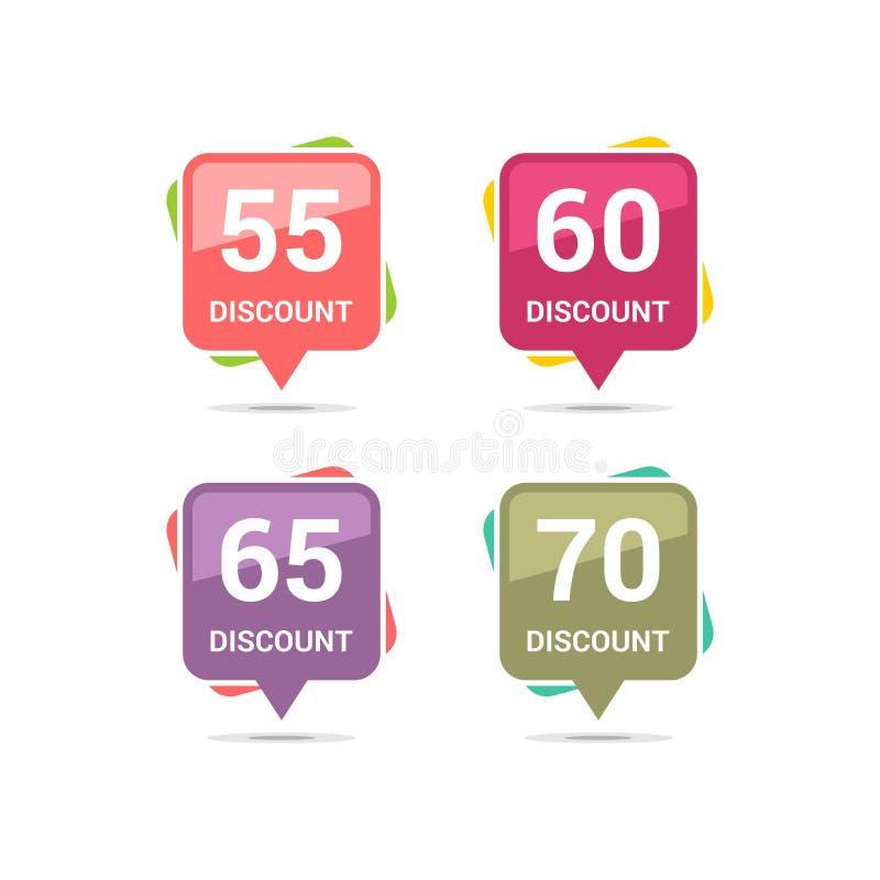 Verkaufsrabatt-Quadratikonen Sonderangebotpreiszeichen 55, 60, 65 und 70 Prozent heruntergesetzt Reduzierungssymbole Farbige Vekt vektor abbildung