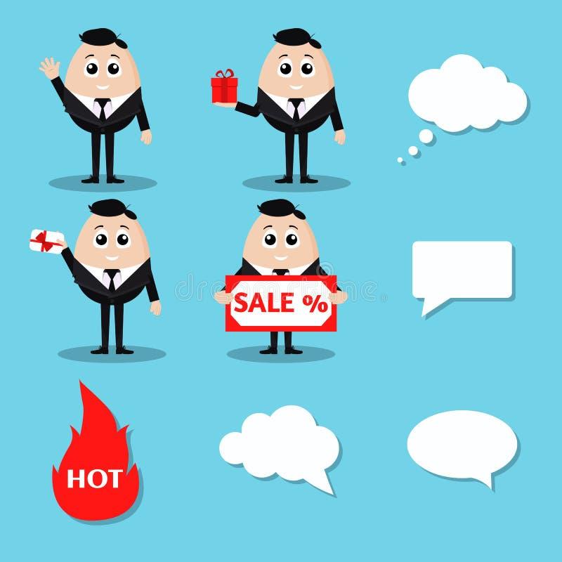 Verkaufssatz des lokalisierten eleganten lächelnden Geschäftsmannes des Vektors im schwarzen Anzug stock abbildung