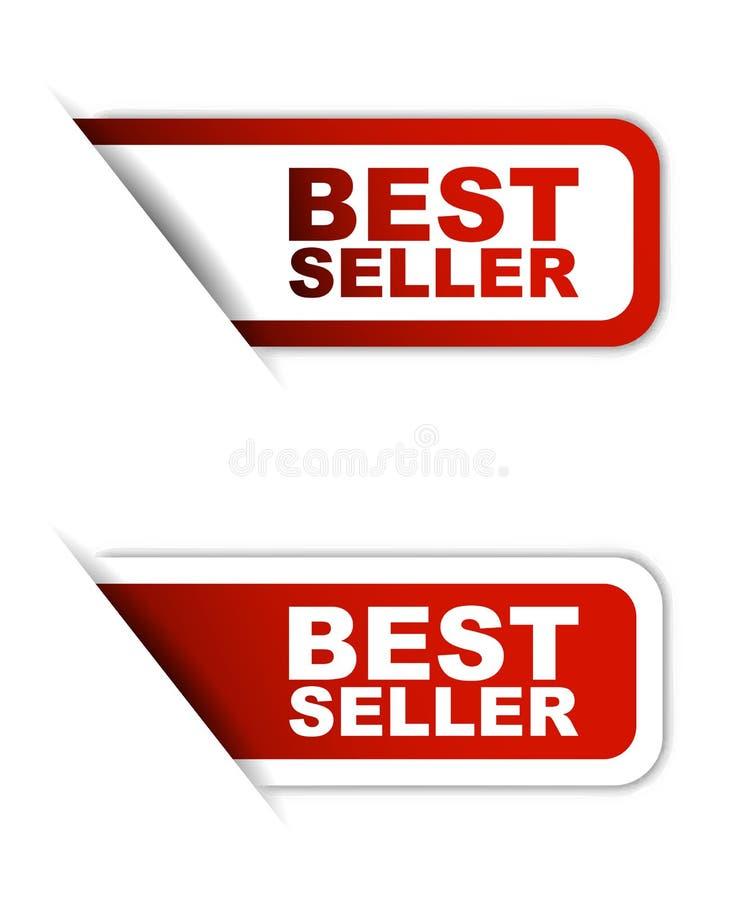 Verkaufsschlager des roten Papierelementaufklebers in Variante zwei stock abbildung