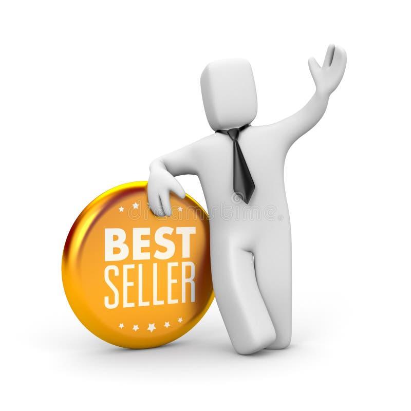 Verkaufsschlager Geschäftsmann- und Goldmedaille stock abbildung