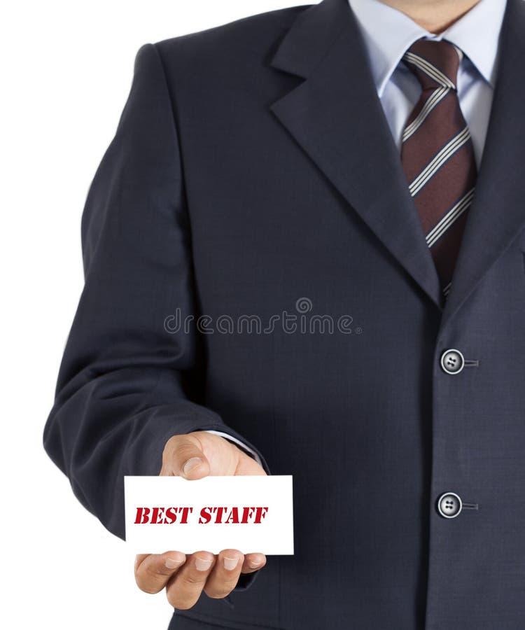 Verkaufsschlagerbrett des Geschäftsmannes auf hends stockbild