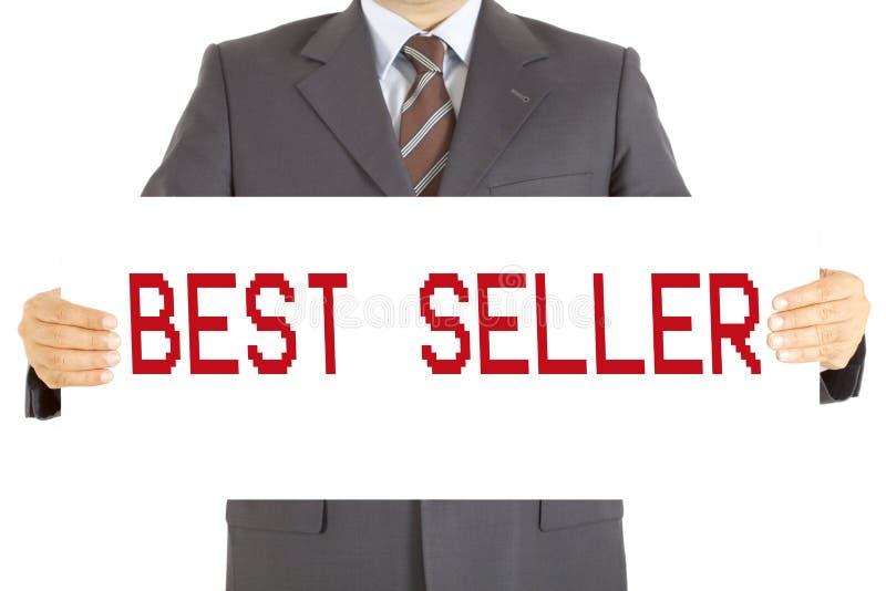 Verkaufsschlagerbrett des Geschäftsmannes auf hends lizenzfreies stockfoto